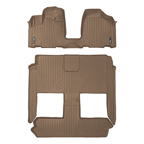 SMARTLINER Floor Mats 3 Row Liner Set Tan for 2008-2018 Dodge Grand Caravan / Chrysler Town & Country (Stow