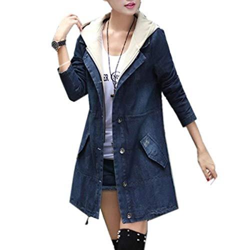 Cappuccio E Elegante Casual Donne Manica Tasche Jeans Lunghe Sezioni Giacca Blau Battercake Giacche Con Cappotto Single Breasted Di Moda Casuale Donna Coulisse Giaccone Lunga Autunno BT6Fxq8