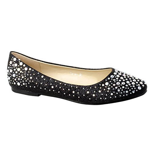 HerStyle Womens Manmade Pallas Studded Pump Flat with Glittering Beads Black b5vax
