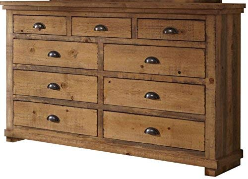 Bedroom Progressive Furniture Willow Drawer Dresser, 66″ x 20″ x 44″, Distressed Pine farmhouse dressers