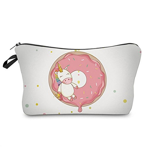 ink2055 Women Cartoon Unicorn Printed Makeup Pouch Handbag C