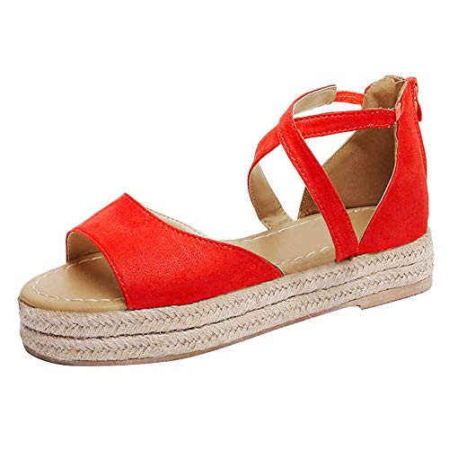 (SNIDEL Women¡¯s Platform Sandals Peep Toe Flat Wedge Strappy Sandal Summer Casual Espadrille Shoes Red 9 B (M) US)