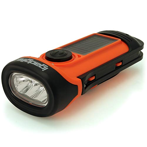 igadgitz Xtra 5m Waterproof Eco Rechargeable Solar & Hand Crank LED Torch Flashlight with 5 Year Warranty
