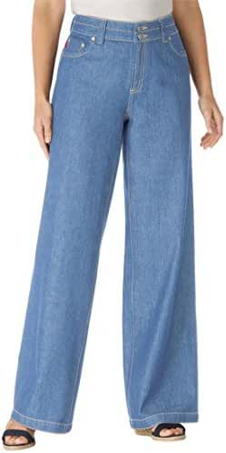 Women's Plus Size Petite Wide Leg 100 Cotton Jean