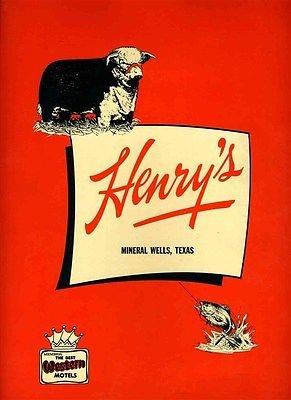 Henry's Restaurant Menu Mineral Wells Texas 1967 Best Western Motel