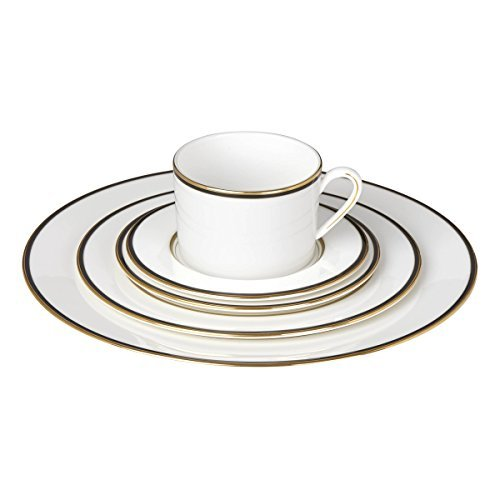 Kate Spade New York Library Lane Black Dinnerware 5-Piece Place Setting, White Bone China with Gold and Black