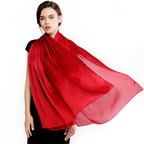 (Silk Scarf for Women 100% Silk Solid Color Long Large Lightweight Satin Shawl Wrap Headscarf)