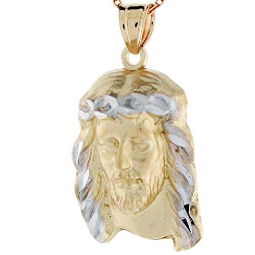10k Yellow and White Gold Jesus Face Religious Medium Size Pendant