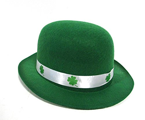 St. Patrick's Day Kelly Green Derby Bowler Hat With Shamrock (Patricks Day Derby Hat)