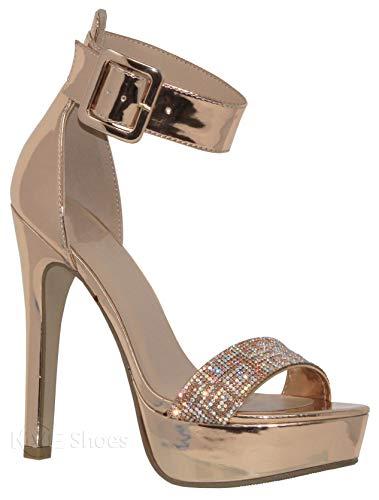 - MVE Shoes Women's Open Toe Buckle Ankle Strap Platform High Heel Sandal, Rose Gold Size 9