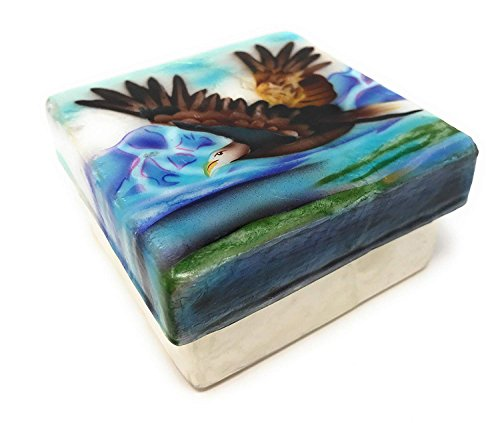Kubla Crafts American Bald Eagle in Flight Capiz Shell Keepsake Box By, 3 Inches X 3 Inches