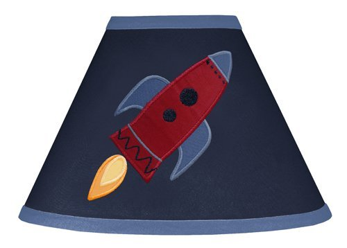 Sweet Jojo Designs Rocket Ship Navy Blue Lamp Shade for Space Galaxy Bedding Collection