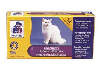 Petmate Boxed Cat Litter Pan Liners 12 Count Large (Liner Petmate)