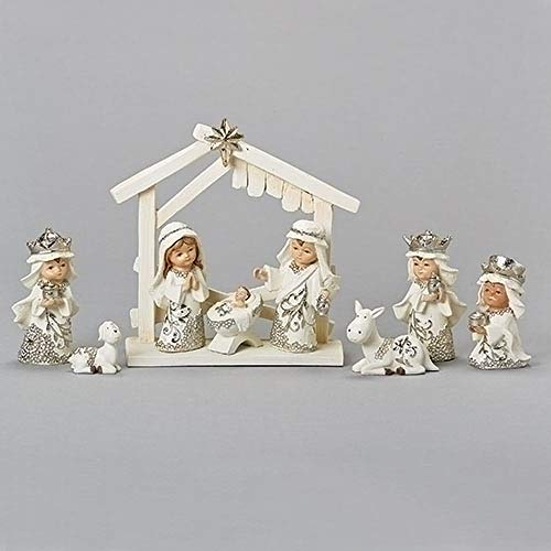 Dollhouse Miniature 6 Piece Creme Plastic Nativity Set