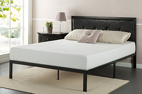 lassic Platform Bed Frame with Steel Support Slats, Full (Leather Full Headboard)