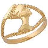 10k Yellow Gold Stunning Rope Design Diamond Cut Egyptian Queen Nefertiti Ring