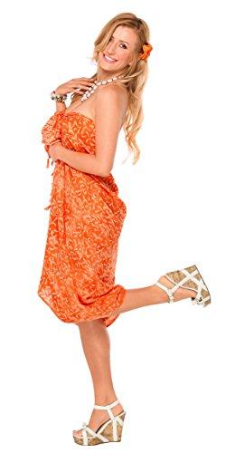 1mundo pareos Bañador para cover-up–Pareo de flores de para mujer naranja