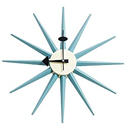 MLF Nelson Sunburst Clock in Blue, Designed by George Nelson and Produced by MLF (Full Range Available)