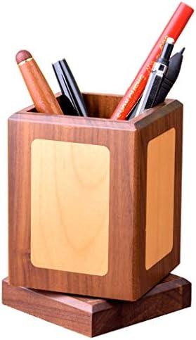 Massivholz Büro Stifthalter Kreative Student Nette Benutzerdefinierte Briefpapier Aufbewahrungsbox Benutzerdefinierte Holz Rotierenden Dekoration (Color : Wood color)