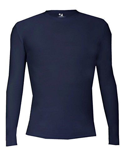 Womens Fitted Baseball Training (Navy Blue Adult Medium Pro-Compression Long Sleeve Crew Performance Sports Poly/Spandex Shirt)