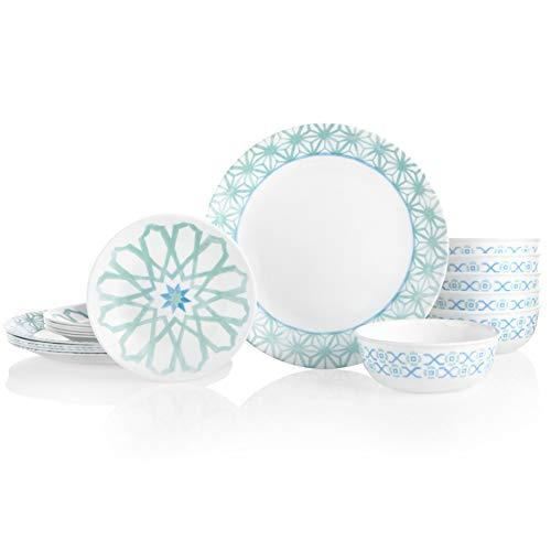 Corelle 18-Piece Service for 6, Chip Resistant Dinnerware Set, Amalfi Verde (Resistant Dinnerware Set)