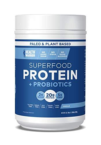 - HEALTH WARRIOR Superfood Protein Powder, Vanilla, 18 Servings, 20g Plant-Based Protein, Vegan, Non-GMO, Gluten Free, Paleo, Stevia Free, Low Sugar, Probiotics and Prebiotics