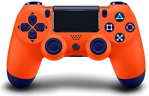 Wireless Game Controller for PS4 with Dual Vibration, Compatible with PS4/Pro/Slim/Windows PC/Android (Sunset Orange & Blue)