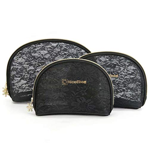 DTBG Makeup Bag Nylon Lace Cosmetic Bag Travel Toiletry Pouch Handbag Organizer Pencil Case for Women Girls 3 Piece Set-Black