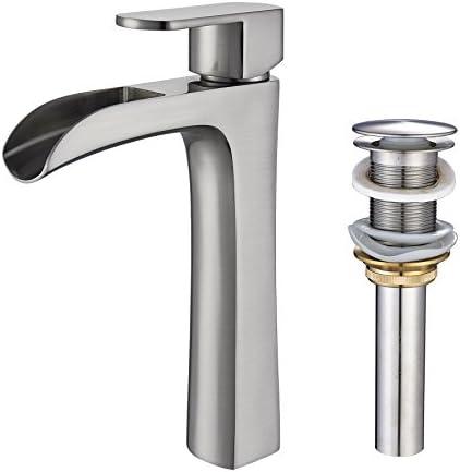 Rozin Single Lever Tall Waterfall Bathroom Sink Faucet Countertop Mixer Tap Vessel Pop up Drain no Overflow Brushed Nickel