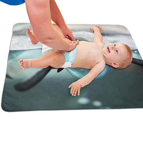 V5DGFJH.B Baby Portable Diaper Changing Pad Swimming Penguin Urinary Pad Baby Changing Mat 31.5