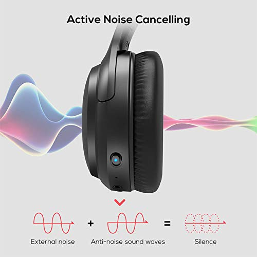 Active Noise Cancelling Headphones, Boltune Bluetooth 5.0 Over Ear Wireless Headphones with Mic Deep Bass, Comfortable Protein Earpads 30H Playtime for Travel Work TV PC Cellphone by Boltune (Image #2)