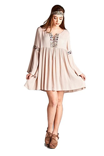 Boho-Chic Vacation & Fall Looks - Standard & Plus Size Styless - Velzera Lace Up Embroidered Bell Sleeve Tunic Dress Boho Chic Plus Size (Tan)