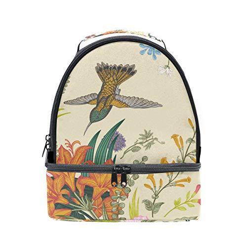 Alinlo rétro Printemps Papillon Imprimé floral Boîte à lunch Sac isotherme Cooler Tote avec bandoulière réglable pour Pincnic à l'école