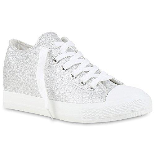 Wedges Flandell Stiefelparadies Silber Keilabsatz mit Sneaker Glitzer Glanz Metallic Damen qx1RawE