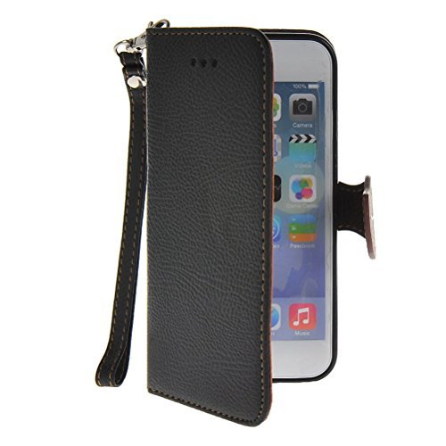 MOONCASE Coque en Cuir Portefeuille Housse de Protection Étui à rabat Case Pour Apple iPhone 6 Plus Noir
