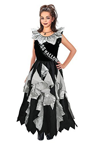 Girls Zombie Prom Queen Costume for Halloween Living Dead Fancy Dress Outfit Child 8-10yrs by Partypackage Ltd (Dead Prom Queen Halloween Costume)