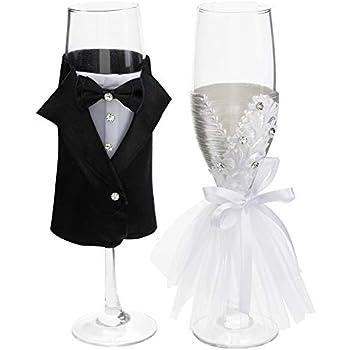 Amazon Com Wedding Dress Wine Glasses Handmade Bride And Groom