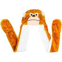 Monkey Cute Polyester Plush Zoo Animal Winter Hat Beanie Aviator Style (Long)