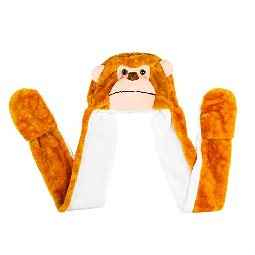 Super Z Outlet Monkey Cute Polyester Plush Zoo Animal Winter Hat Beanie Aviator Style (Long)