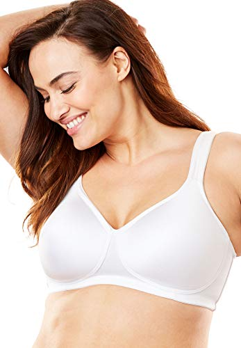 Comfort Choice Women's Plus Size Microfiber Wireless T-Shirt Bra - 46 B, White