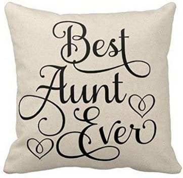 Amazon Com Popular Presents Sjbaby Best Aunt Ever Throw Pillow Cover Cushion Case 18 Home Kitchen