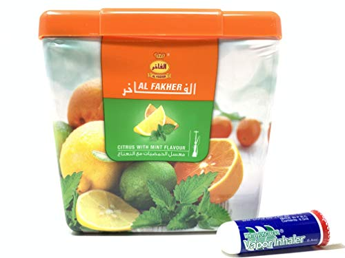 1 Kg. Al Fakher Shisha Molasses - Non Tobacco Citrus with Mint Flavour Hookah Water Pipe Sold by SuperStore77 with Trademark Charcoal