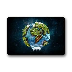 """Evergreen casa modas–-Tierra y espacio de mapa del mundo personalizado Felpudo lavable puerta Felpudo/puerta Pad 23.6""""(L) X 15,7(W)"""
