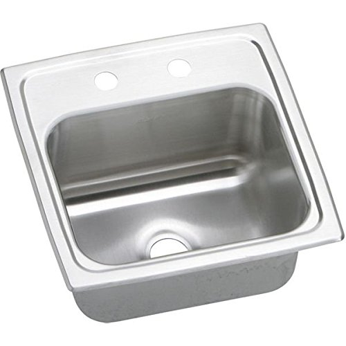 Pacemaker Bar Sink (Elkay BPSR152 Gourmet Pacemaker 15-Inch by 15-Inch Stainless Steel Two-Hole Bar Sink, Pacemaker Bright Satin)