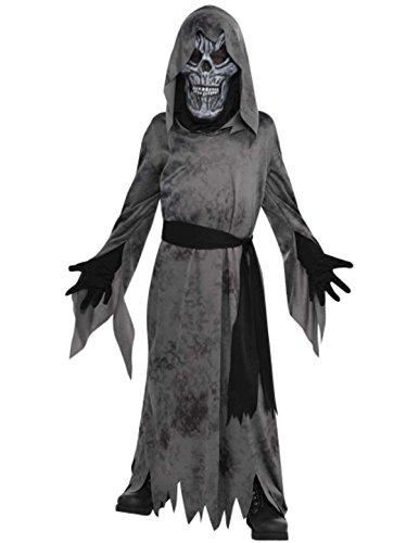 Grey Skeleton Reaper Robe For Kids (Ghastly Ghoul Child Costume - Medium)