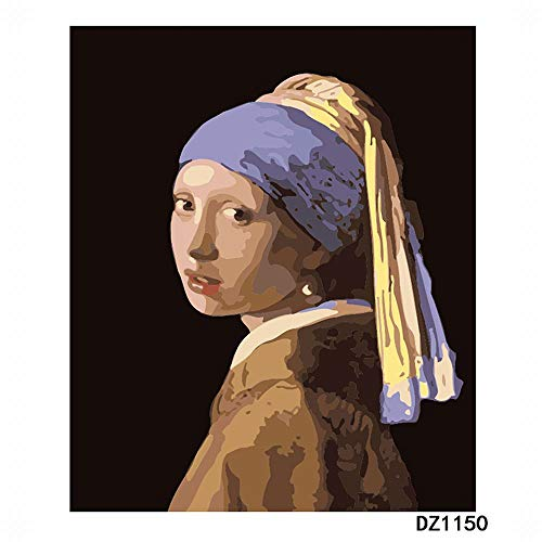 Paint by Numbers for Adults DIY Oil Painting Kit(Wooden Frame,Johannes Vermeer )