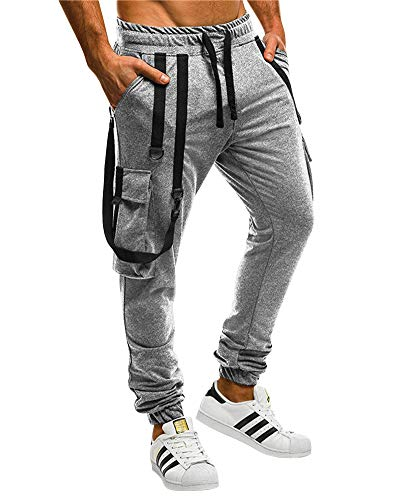 HaoDong Mens Casual Sport Pants - Slim Fit Solid Color Sweatpants Outdoor Trousers Light Grey L ()
