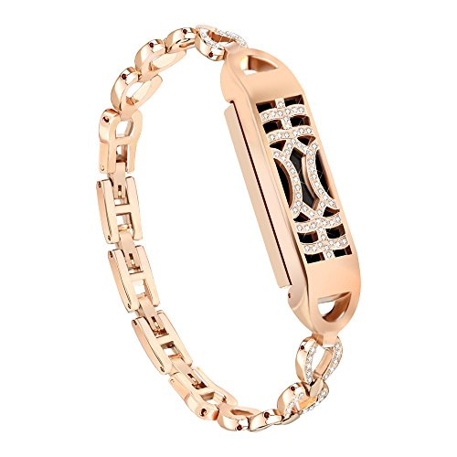 Band Strap, Ikevan 2019 1X Metal Bands Strap for Fitbit Flex 2 (Rose Gold)