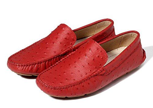 Happyshop (tm) Mens Falso Mocassini Ventilati In Pelle Di Struzzo Slip-on Penny Mocassini Sneakers Moda Appartamenti Rosso
