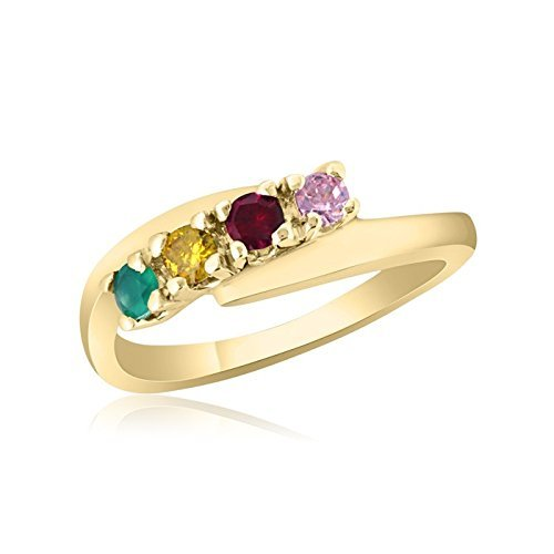 10K Yellow Gold Mother's Day Ring – 4 Birthstone Family Ring